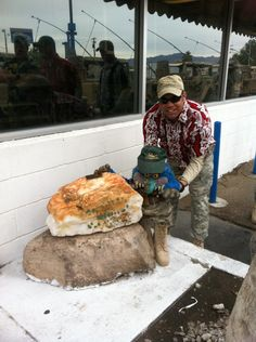 Fort Irwin placing there team mascot at Mad Greek Baker.  If you look closely you can see the scorpian painted on the rock.