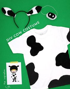easy diy costumes / cow costume / by ann kelle I think my love of costumes originated from my Mom. When I was a child, my Mom would make the BEST costumes for us … Farm Animal Costumes, Farm Costumes, Nativity Costumes, Handmade Halloween Costumes, Easy Diy Costumes, Halloween Kostüm, Kids Cow Costume, Cow Diy Costume, Costume Ideas