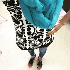 Ootd. Black/white geo print tunic, blue skinny jeans, teal scarf and black sandals.   Follow on ig for everyday ootd  @uniquely__created