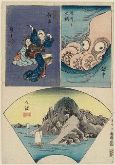 Utagawa Hiroshige: No. 11: Etchû, Echigo, and Sado, from the series Cutout Pictures of the Provinces (Kunizukushi harimaze zue) - Museum of Fine Arts