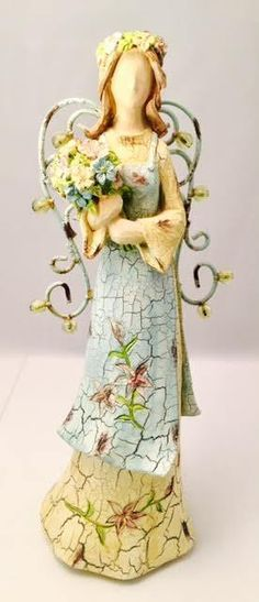 "Beautiful Floral Angel with Bouquet TII Collection 16"" Resin Angel with Wings"