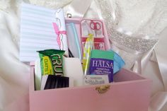 Wedding accessories BRIDAL GIFT Survival by CHEEKY; Each box is hand painted and unique. All items are not pictured above. Brands & items may be different than pictured. Bride Kit includes: *Hand painted w/decal-wooden box, pink/teal.  *Mints *Bobby pins * Safety pins * boutonniere pins *nail file *pain reliver *2 pantie liner * Tissues * comb *shimmer chapstick *Q-tips *wet wipe *shout wipe *Nature valley granola Bar *Blank card for gift giver to give with this kit.