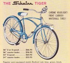 Cost of a Schwinn Tiger bike. Old Bicycle, Old Bikes, Bicycle News, Vintage Comic Books, Vintage Comics, Vintage Advertisements, Vintage Ads, Family Day Quotes, Rescue Vehicles
