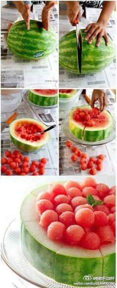 Sandía o melón de agua. Postre creativo y fácil de preparar. Watermelon