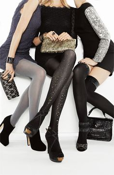 DKNY Sequined Over the Knee Socks
