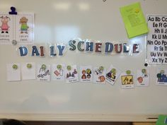 Horizontal visual schedule with simple picture cues (boardmaker) and numbered magnets holding it to the magnetic board.  As students complete a part of the day, teachers turn the card over. #sjsd www.sjsd.k12.mo.us/preschool