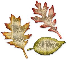 Leaves cut from dictionary pages and inked around the edges.