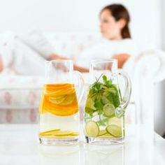 3 Flavored waters. Simpler versions here http://www.jamieoliver.com/recipes/other-recipes/quick-and-easy-flavored-water