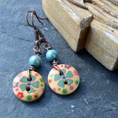 Boucles pour oreilles percées couleur cuivre boutons bois multicolore - bijoux fantaisie tessness