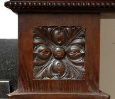 Large Oak antique mantel with Hood from a Chateau