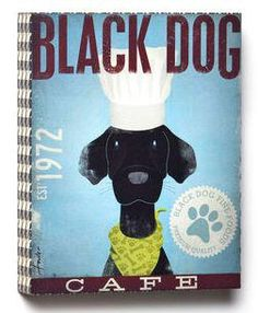 Too cute! The Black Dog Cafe wall art features this eager black pup sporting the classic chef look! #blacklab #labart www.morethanwords.com $34.95