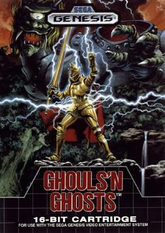 Ghouls & Ghosts box cover artwork for the Sega Megadrive / Genesis console. Great artwork for a great game.