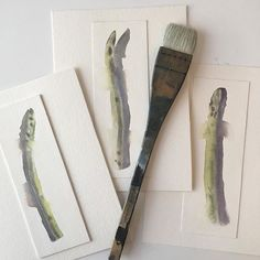 Small wet-in-wet watercolor asparagus paintings. #watercolor #asparagus Tracywilliamsart.com Instagram: @tracywilliamsartist
