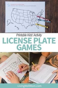 Whether you're at home or on a road trip, these license plate printable activity sheets will keep the kiddos occupied.