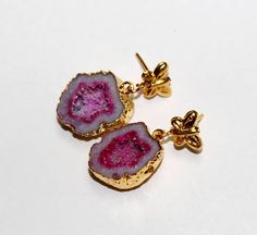 24kt Gold Electroplated Pink Druzy Geode Earrings /Gold Plated