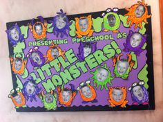 Halloween bulletin board pre-k - elementary ed. Little monsters. My class loves it! Halloween bulletin board pre-k - elementary ed. Little monsters. My class loves it! Monster Bulletin Boards, Daycare Bulletin Boards, Monster Theme Classroom, October Bulletin Boards, Thanksgiving Bulletin Boards, Classroom Ideas, Toddler Classroom, Apple Classroom, Halloween Classroom Door
