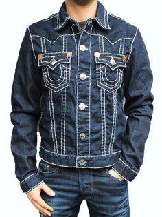New True Religion Buddha Jimmy Super T Mens Blue Denim Jeans Jacket