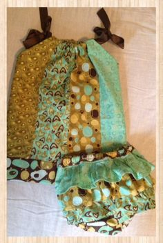 Pillowcase Dress w/Matching Diaper Cover Baby Girl RTS Ready to Ship 18-24 Month Green, Chocolate, Gold, Bronze on Etsy, $39.00 CAD