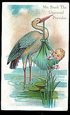 """""""Mr Stork Universal Provider"""" ~ 1910 Postcard Vintage Greeting Cards, Vintage Postcards, Vintage Prints, Vintage Art, Baby Mine, Special Delivery, Illustrations, Stork, Baby Cards"""