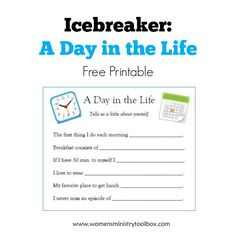 Icebreaker A Day in the Life - Brand NEW icebreaker game with FREE printable at Women's Ministry Toolbox!