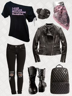 Chic biker chick/rocker outfit with off the shoulder t-shirt, ripped skinny jeans, leather jacket, motorycle boots, quilted back pack and super femme bandana mask. #bikerstyle