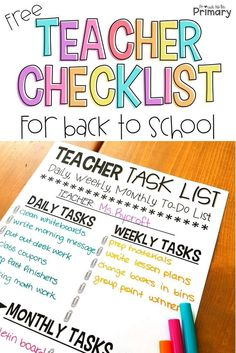 These 10 Time Saving Tips For Teachers Will Help You Save Time, Master Your Classroom Organization, And Rock That Classroom Management, Leading To A Low-Stress School Year. You Won't Want To Miss The Free Teacher Planners Teacher Planner Free, Teacher Freebies, Teacher Resources, New Teacher Checklist, Teachers Toolbox, Classroom Checklist, Back To School Checklist, First Year Teachers, Back To School Teacher