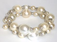 Free Ship+No fees 'Dreams in White and Cream' Memory wire bracelet $6.00