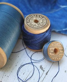 I love the blues in these old spools of thread. And, I am loving this book!the photography!those indigo bl. Azul Indigo, Bleu Indigo, Color Celeste, My Favorite Color, My Favorite Things, Vintage Sewing Notions, Thread Spools, Silk Thread, Photocollage