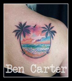 Sunset scene by Ben Carter at Adorned Tattoo, Dorset UK. https://www.facebook.com/AdornedTattoo