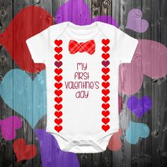 Boys My First Valentines Day Onesie Boys Suspender Bow Tie Onesie Boys Bow Tie Boys Valentine Onesie by CapitalTwithaJ on Etsy Suspenders For Boys, Boys Bow Ties, Valentine T Shirts, Valentines For Boys, Tie Onesie, Onesies, Diy For Girls, Baby Girl Fashion, Trendy Baby
