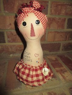 Primitive Raggedy Button/pin keep by craftystitchers on Etsy