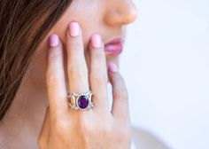 Purple Amethyst Ring - Geometric sterling silver ring with amethyst gemstones - Statement ring