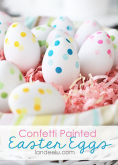 Confetti Painted Easter Eggs - Landee See Landee Do