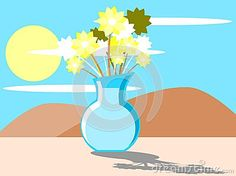 Illustration representing a nice and colorful flower pot on a windowsill in a room