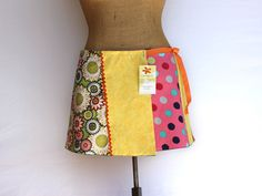 Green Floral Mini Wrap Skirt- Yellow A Line Skirt- Polka Dot Pink Skirt- OOAK- Hand Made Graphic Skirt- Charley Girl Shorti- READY To SHIP by CharleyGirlSkirts on Etsy https://www.etsy.com/listing/230306193/green-floral-mini-wrap-skirt-yellow-a
