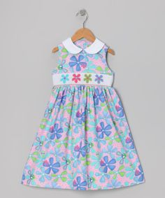 Pink & Purple Floral Collar Smocked Dress - Toddler & Girls | Daily deals for moms, babies and kids