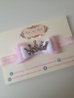 Princess Crown Fairy dust glitter bow baby / girl crocodile clip or headband in sizes newborn-adult. Choice of colour by RosesandBows1 on Etsy https://www.etsy.com/listing/232095045/princess-crown-fairy-dust-glitter-bow