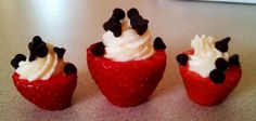 Healthy cheesecake filled strawberries!  yum!