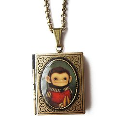 MadetoOrder Book Locket  The Cymbal Monkey by theblackapple, $40.00