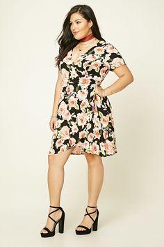 Plus Size Floral Wrap Dress