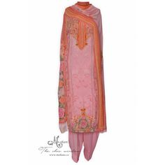 Pretty baby pink printed unstitched suit accentuated with knot stitch-Mohan& the chic window Indian Party Wear, Indian Ethnic Wear, Pretty Baby, Punjabi Suits, The Chic, Wedding Wear, Salwar Kameez, Lace Skirt, Knot