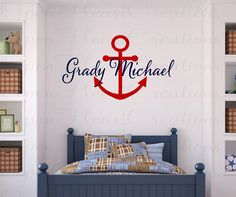 Personalized Nautical Vinyl Wall Decal - Monogram Baby Boy or Girl Wall Decal with Boat Anchor 22H x 38W IN0040. $45.00, via Etsy.
