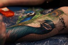I so want a peacock feather quill tattoo on my left outer thigh (mirroring my skeleton key on my outer right thigh) in the style of this feather. Sydney Tattoo & Body Art Expo 2010 by Little Bit Good, via Flickr