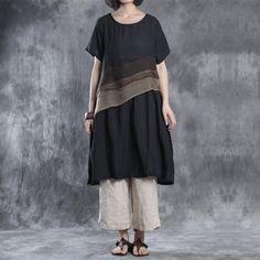 Women summer short sleeve linen dress