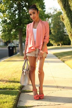 Pink Peach Waterfall Cardigan Blazer + White Tank + Nude Tiered Lace Shorts + Pink Suede Platforms