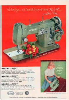 1954 Vintage Ad Necchi Sewing Machine // Old Sewing Ads // Christmas advertisement
