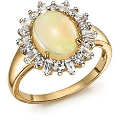 Opal Oval Statement Ring with Diamond Halo in 14K Yellow Gold - 100%... (€2.255) ❤ liked on Polyvore featuring jewelry, rings, gold, 14k ring, gold jewelry, gold statement ring, cocktail rings and gold ring