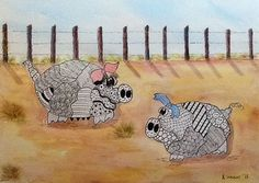 Two Pigs In A Pen Zentangle designs Pig Snout by watercolors4me, $95.00