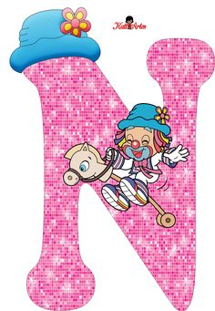 EUGENIA - KATIA ARTES - BLOG DE LETRAS PERSONALIZADAS E ALGUMAS COISINHAS: Alfabeto Patati e Patata Rosa Letter N, Letter Board, Alphabet Letters, Clown Party, Circus Clown, Clowning Around, Send In The Clowns, Letters And Numbers, Girly