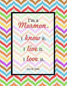 I'm a Mormon free printable. Background in YW value colors.